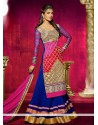 Priyanka Chopra Blue And Pink Bhagalpuri Silk Anarkali Suit