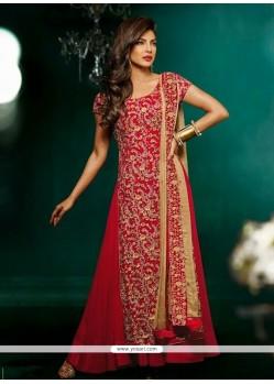 Priyanka Chopra Red And Beige Georgette Anarkali Suit