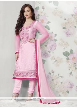 Hot Pink Embroidery Churidar Salwar Suit