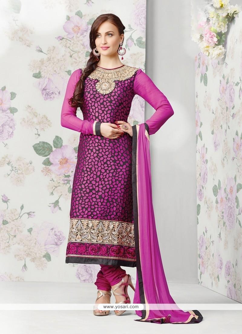 Perfect Pink Brasso Georgette Churidar Salwar Suit