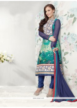 Sea Green And Blue Shaded Printed Churidar Suit