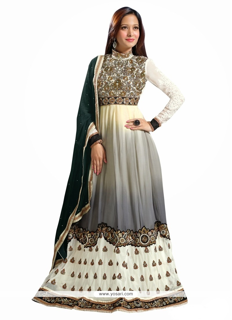 Off White And Black Georgette Anarkali Salwar Suit