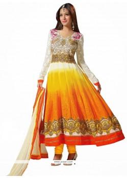 Off White And Orange Shaded Zari Anarkali Suits