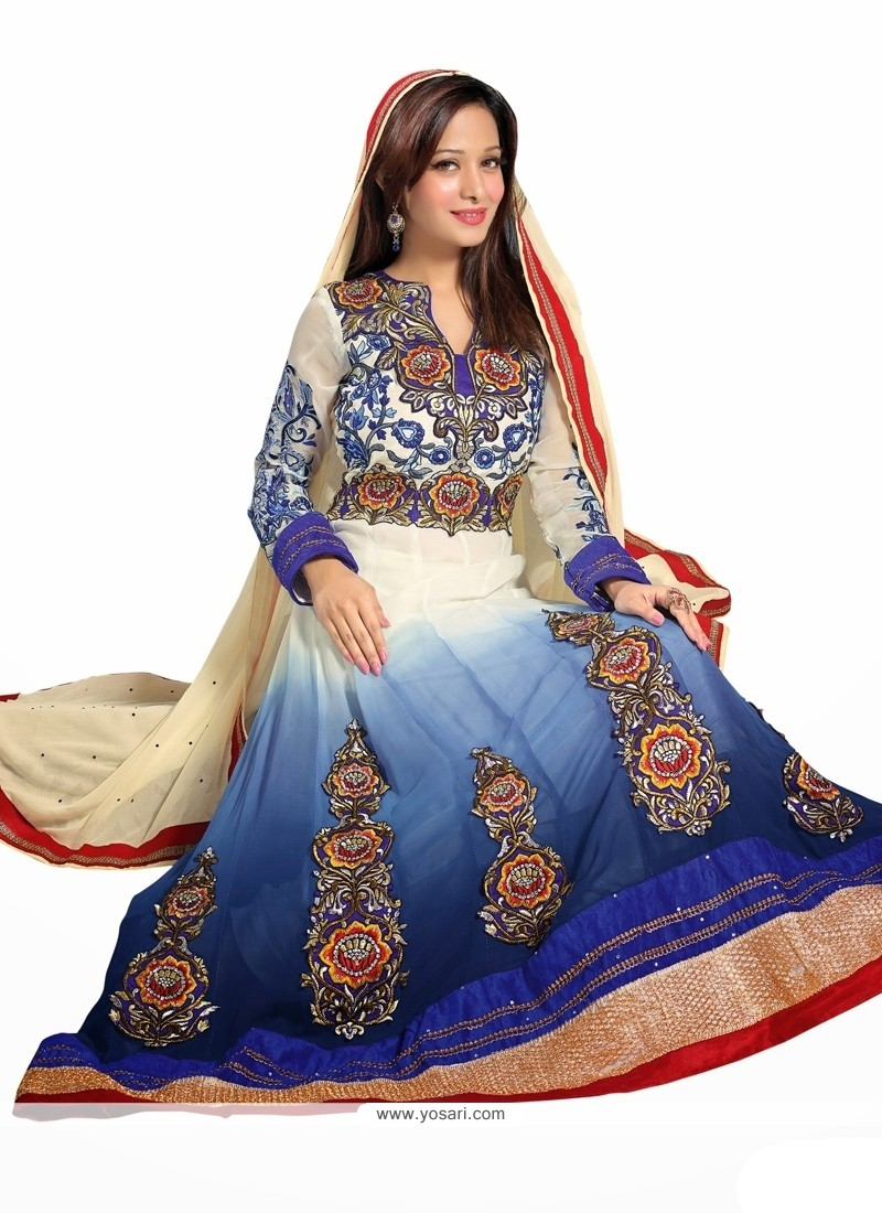 Off White And Blue Faux Georgette Anarkali Suits