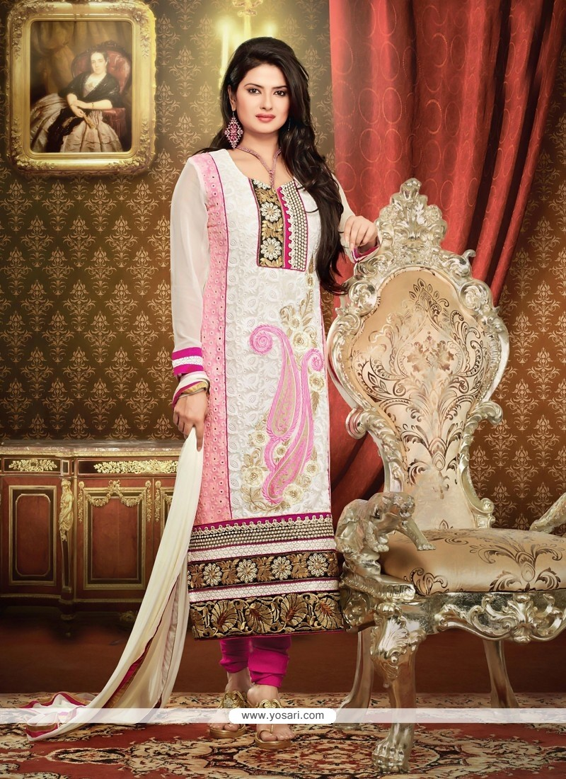 White And Pink Georgette Churidar Salwar Suit