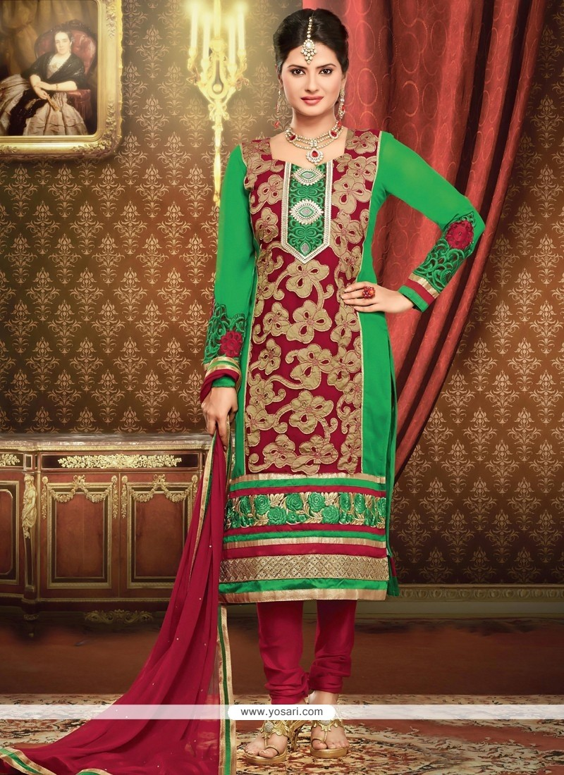 Deserving Maroon And Green Georgette Churidar Suit