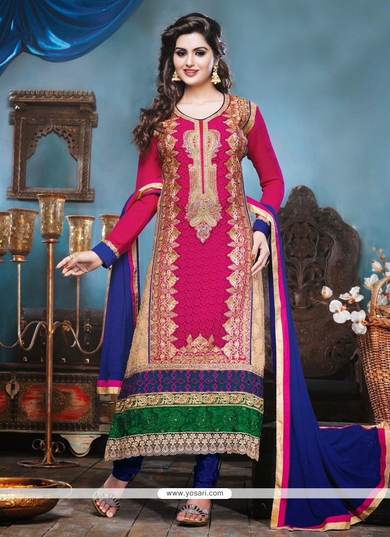 Pink Georgette Churidar Salwar Kameez