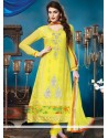 Yellow Resham Work Churidar Suit