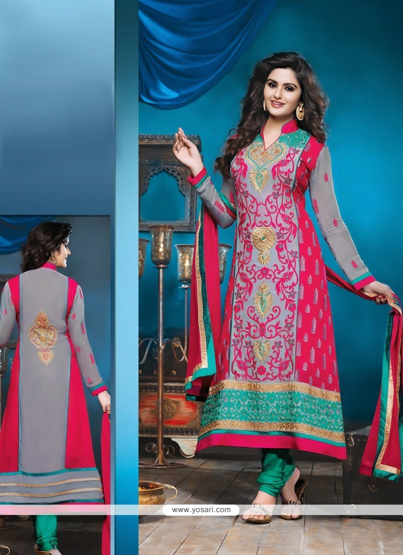 Flawless Grey And Pink Shaded Bamber Churidar Suit