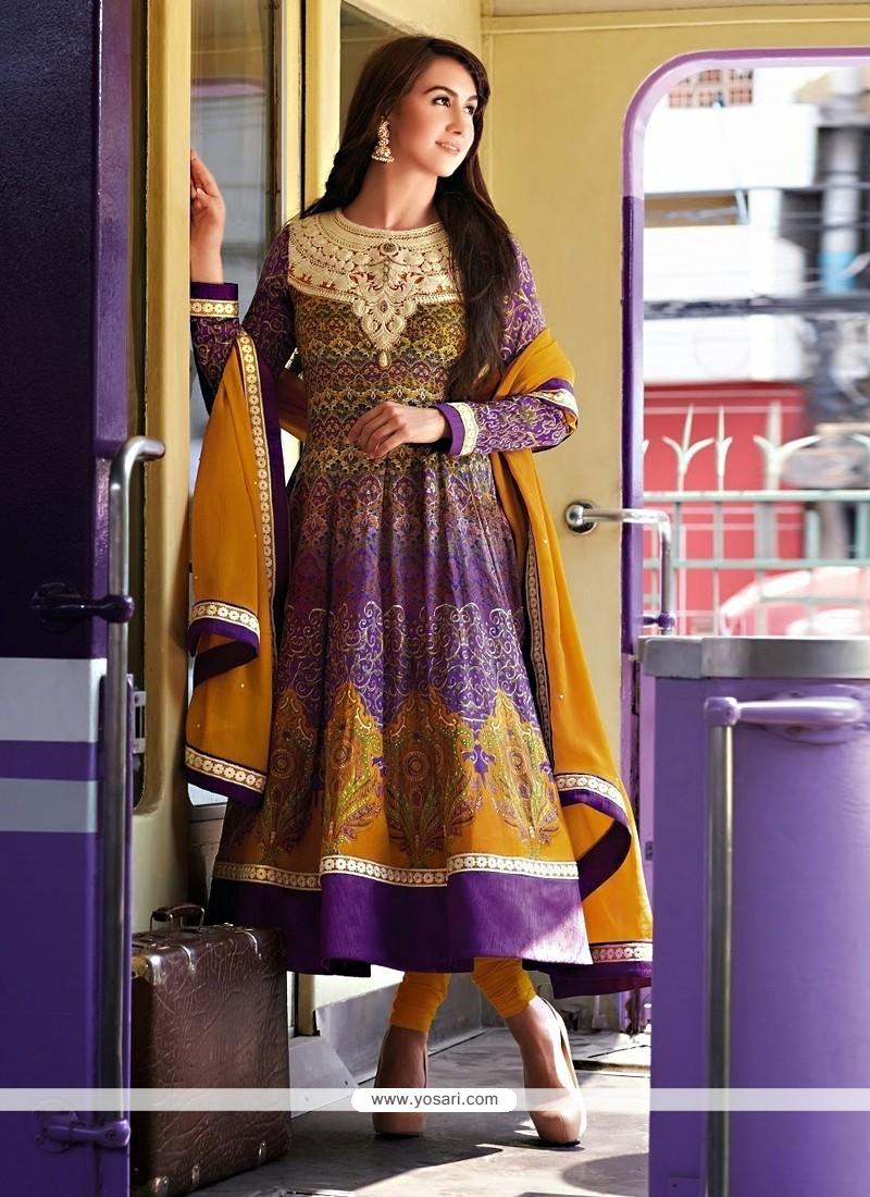 Radiant Purple Resham Anarkali Salwar Suit