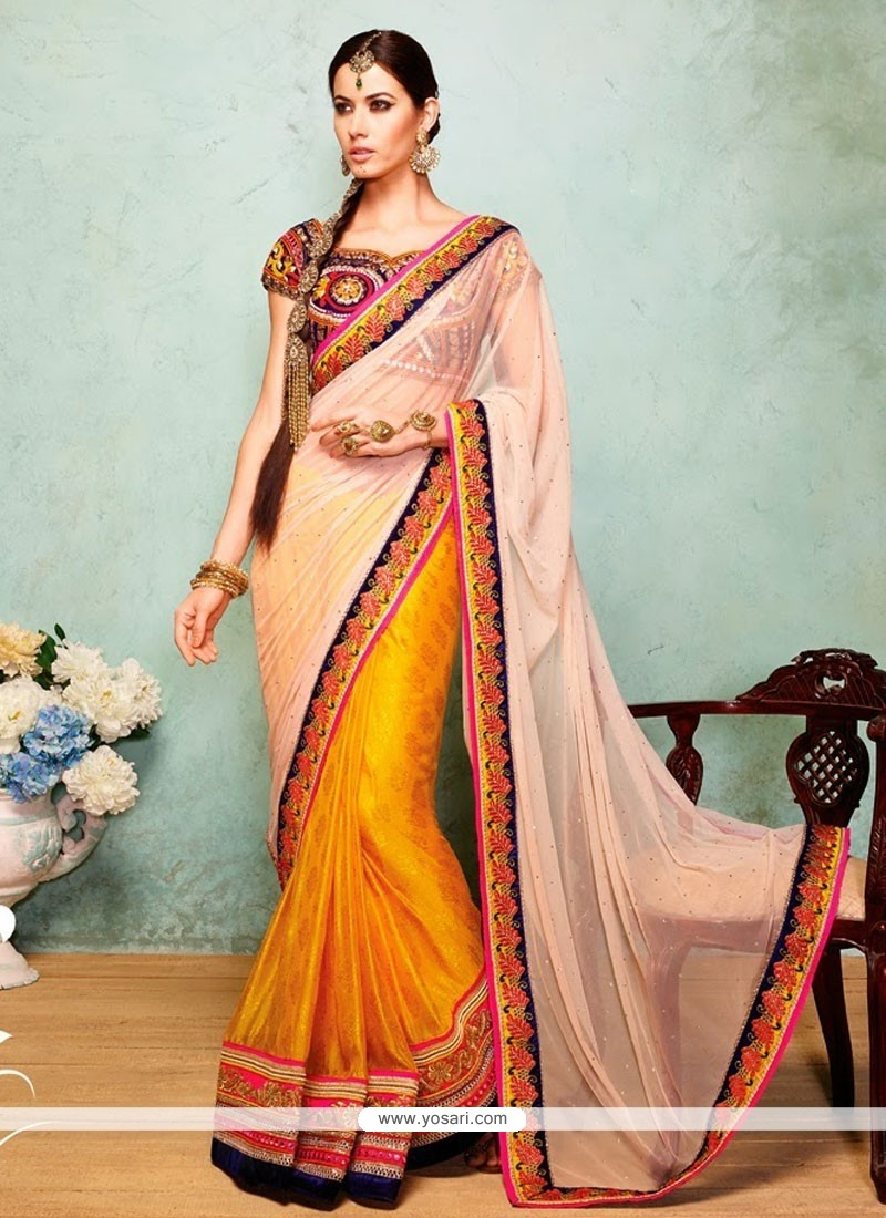 Radiant Cream And Yellow Net And Viscose Half N Half Saree