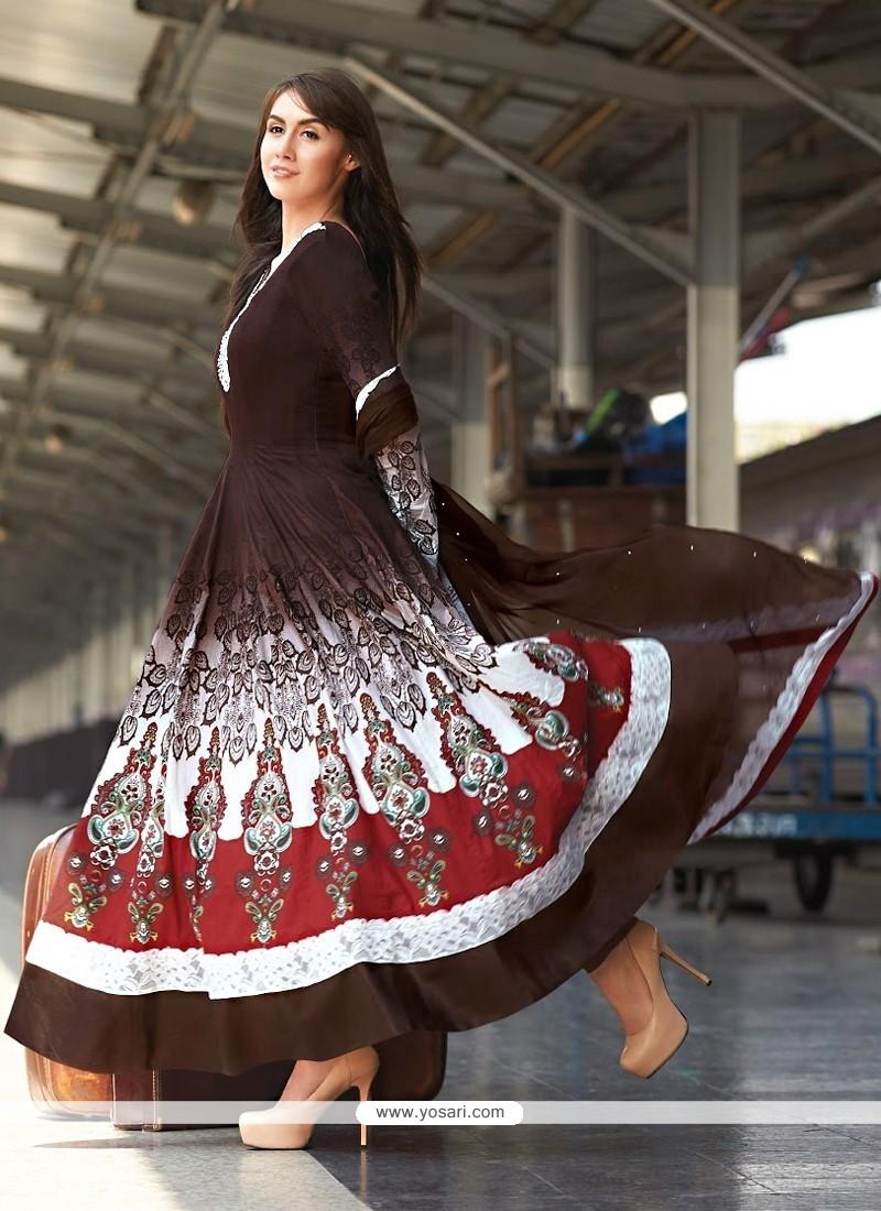 Modern Brown Cotton Anarkali Salwar Suit