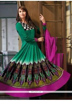Gorgeous Green Resham Anarkali Suits