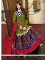 Genius Green Cotton Anarkali Suits