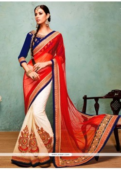 Flawless Off White And Red Net Saree