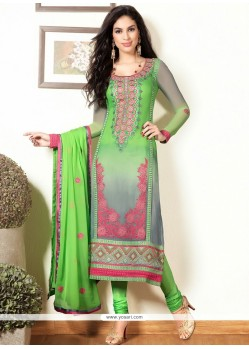 Green And Grey Shaded Pure Georgette Churidar Suit