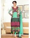 Turquoise Embroidered Work Churidar Salwar Kameez