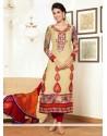 Genius Cream Pure Georgette Churidar Salwar Suit