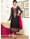 Groovy Black Pure Georgette Churidar Salwar Suit
