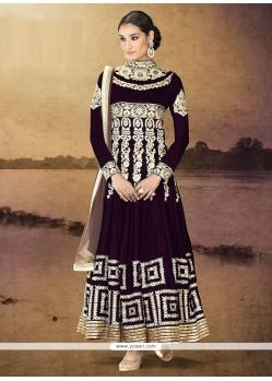Competent Wine Pure Velvet Anarkali Salwar Suit