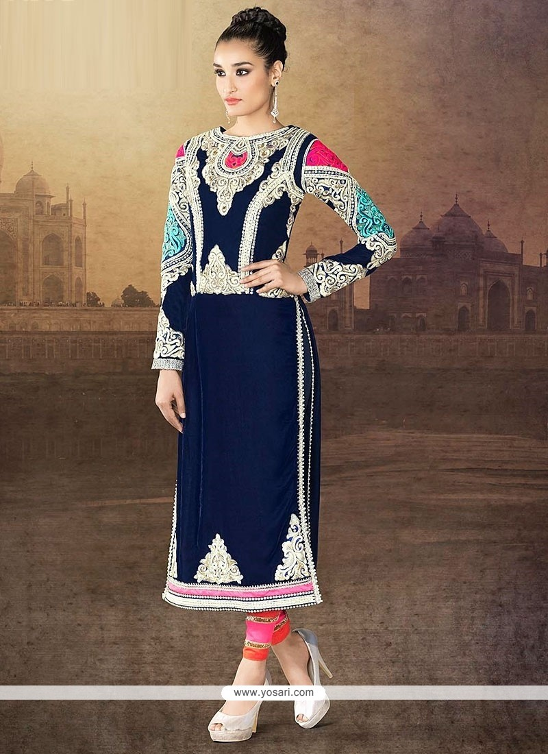 Blue Velvet Embroidery Churidar Suit