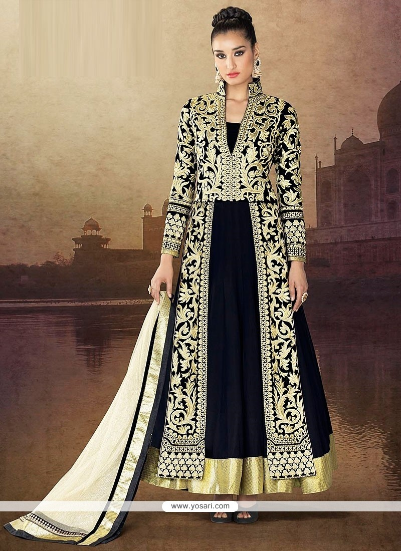 Black Pure Velvet Anarkali Salwar Suit
