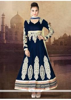 Navy Blue Pure Velvet Designer Anarkali Suits