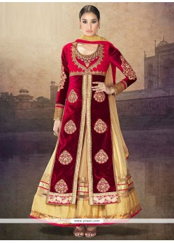 Angelic Red And Peach Velvet Anarkali Suits
