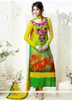 Opulent Yellow And Green Georgette Designer Churidar Suit