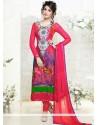 Modern Pink Embroidery Work Churidar Salwar Suit