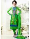 Magnetic Green Printed Churidar Suit