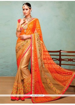 Deserving Orange Shaded Net Saree