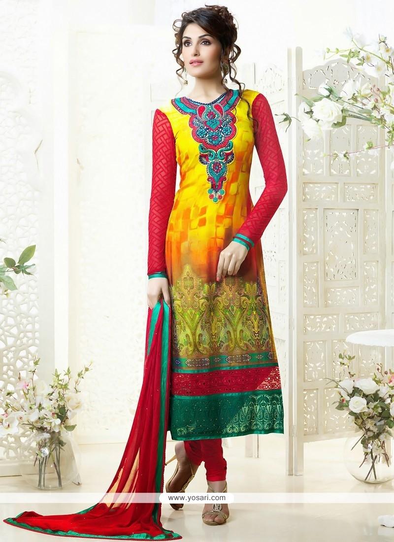 Dazzling Yellow Printed Churidar Salwar Suit