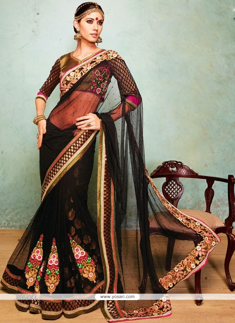 Charismatic Black Faux Georgette And Net Saree