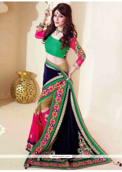 Marvelous Multicolored Faux Georgette And Velvet Saree