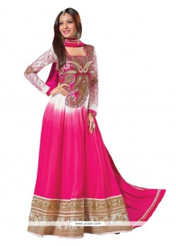 Off White And Pink Georgette Anarkali Styles Suit