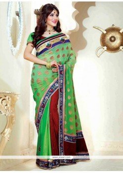 Modern Green And Maroon Sahded Jacquard Saree