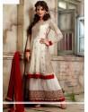 Off White Georgette Zari Anarkali Salwar Suit