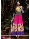 Multicolored Faux Georgette Printed Anarkali Suits