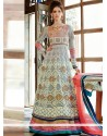 Eyeful Grey And Pink Shaded Net Anarkali Suits