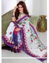 Angelic Off White And Blue Shade Faux Georgette Saree