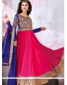 Hot Pink And Blue Georgette Anarkali Suits