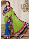 Appealing Blue And Green Shade Viscose And Georgette Saree