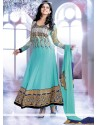 Turquoise Blue Georgette Anarkali Salwar Suit