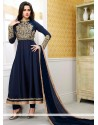 Flawless Blue Satin Anarkali Suits