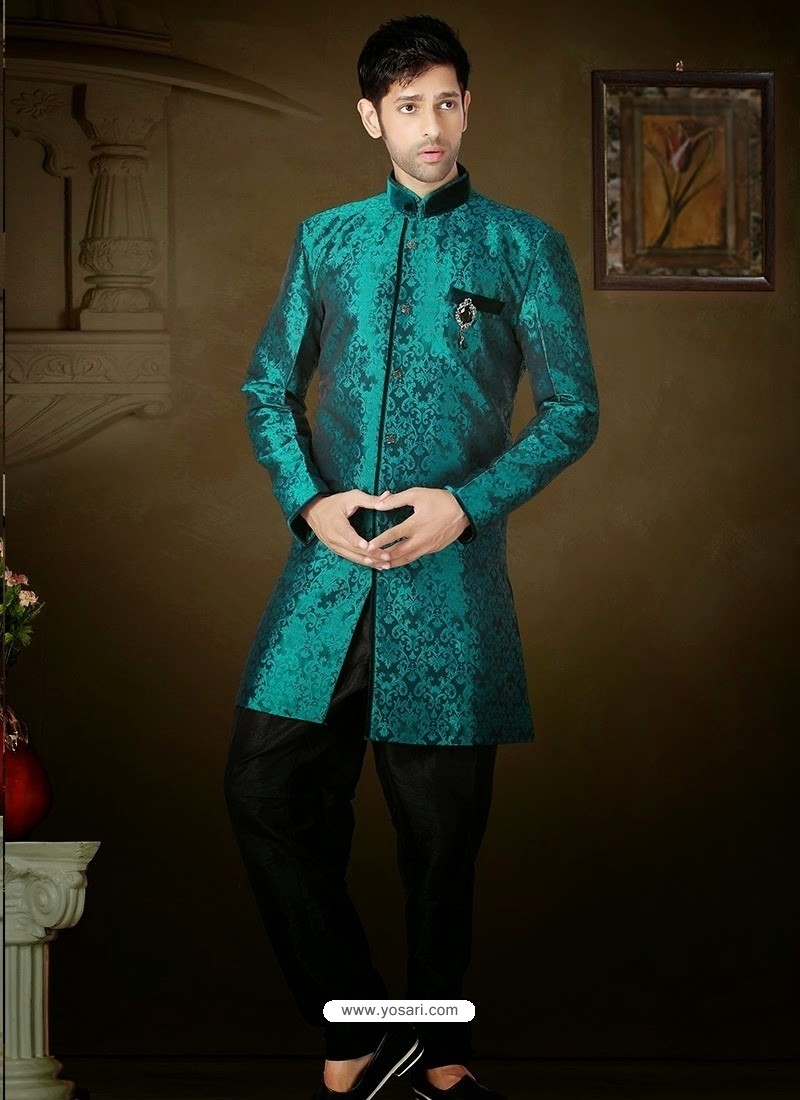 Shop online Teal Green And Black Brocade Sherwani