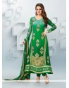 Fascinating Green Embroidery Work Anarkali Suits