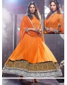 Opulent Orange Net Floor Length Anarkali Suits