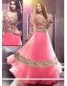 Flawless Pink Net Floor Length Anarkali Suits