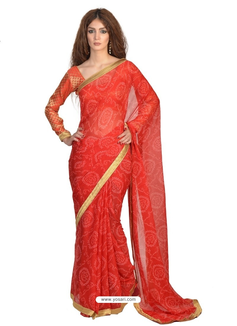 Piquant Red Lace Work Faux Chiffon Casual Saree